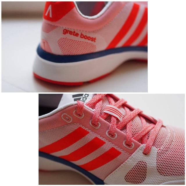 Testissä adidas Aktiv Grete Boostit, jotka hurmasivat saman tien sekä ulkonäöllään että juoksutuntumalla.