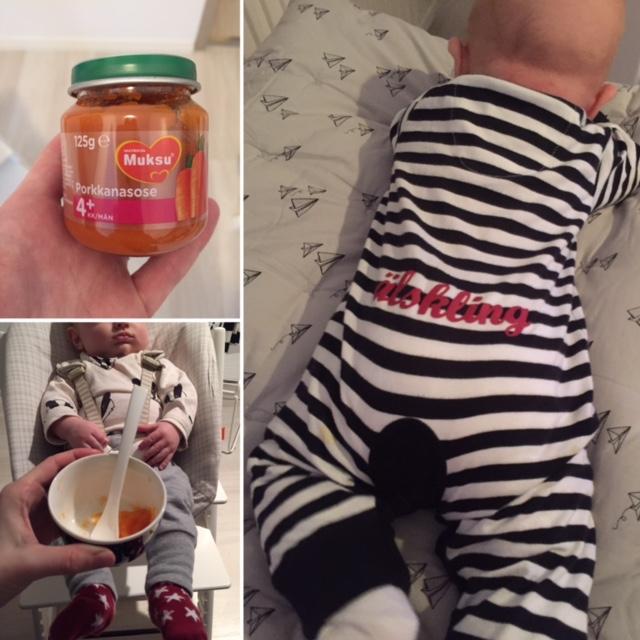 Vauvalla tuli 4 kk täyteen vuodenvaihteessa. Aloitettiin kiinteiden ruokien maistelu porkkanalla sekä itse soseuttamalla että valmiilla. Molemmat maistui!
